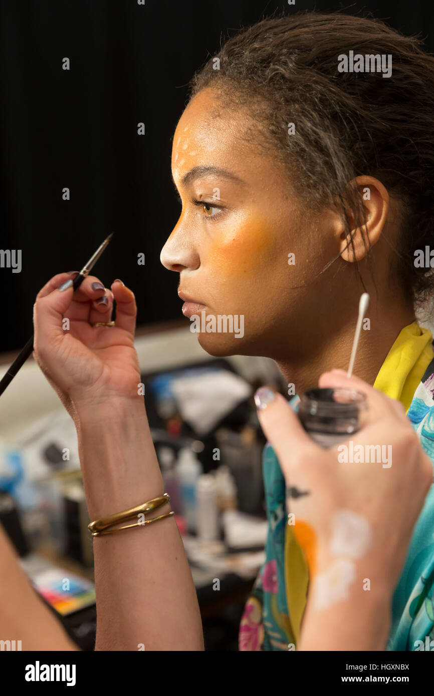 New York, USA - September 08, 2016: Chantal Monaghan prepares backstage for the Desigual Spring 2017 fashion show - Stock Image