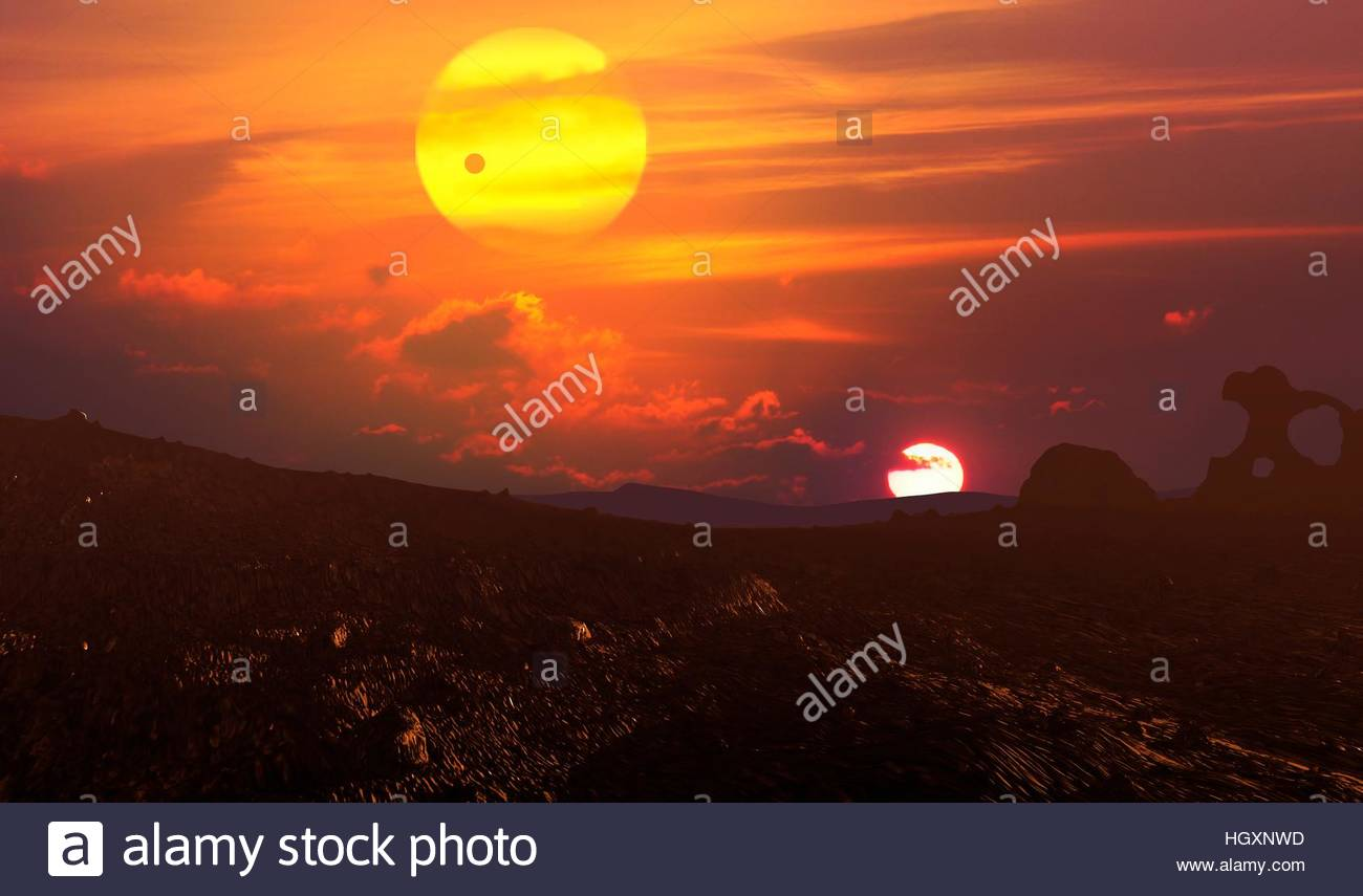Kepler 16 is a binary star system with an M-type dwarf and a K-type star orbiting their centre of mass with 0.22 - Stock Image