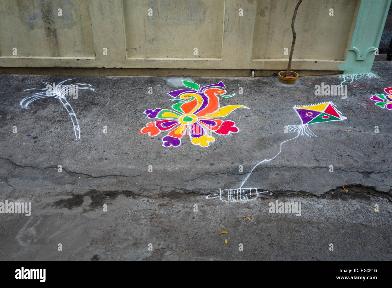 HYDERABAD, INDIA - JANUARY 14,2017 Decorative floral patterns known as Rangoli outside a home on Pongal festival Stock Photo