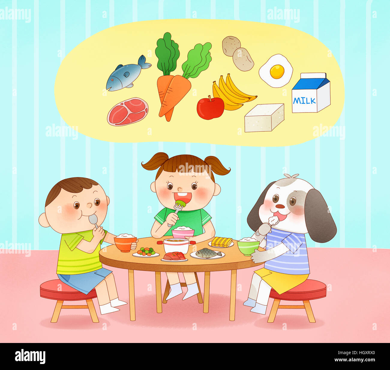 Smiling Children Eating Healthy Food Stock Photo Alamy