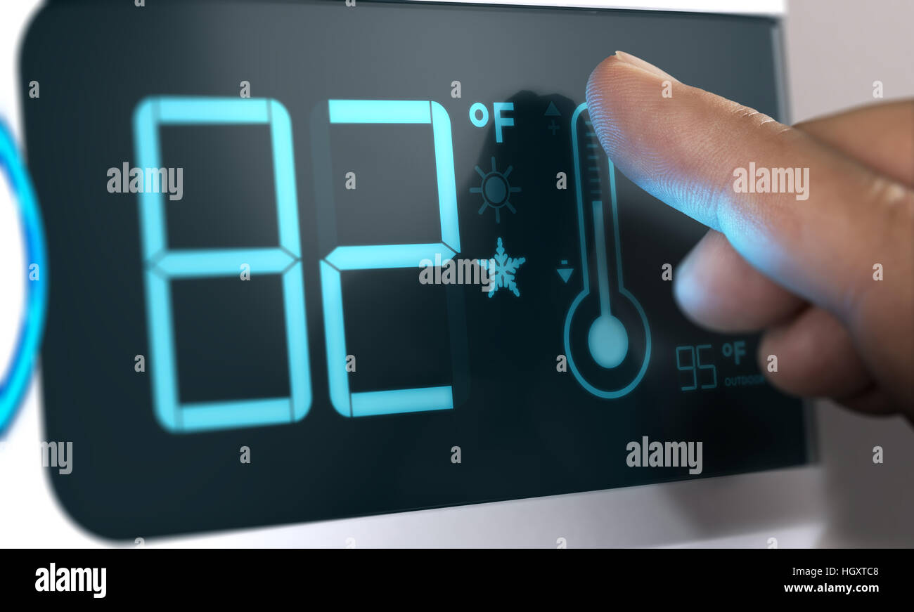 Finger Touching A Digital Thermostat Temperature Controller To Set It At 82 Degrees Fahrenheit Composite