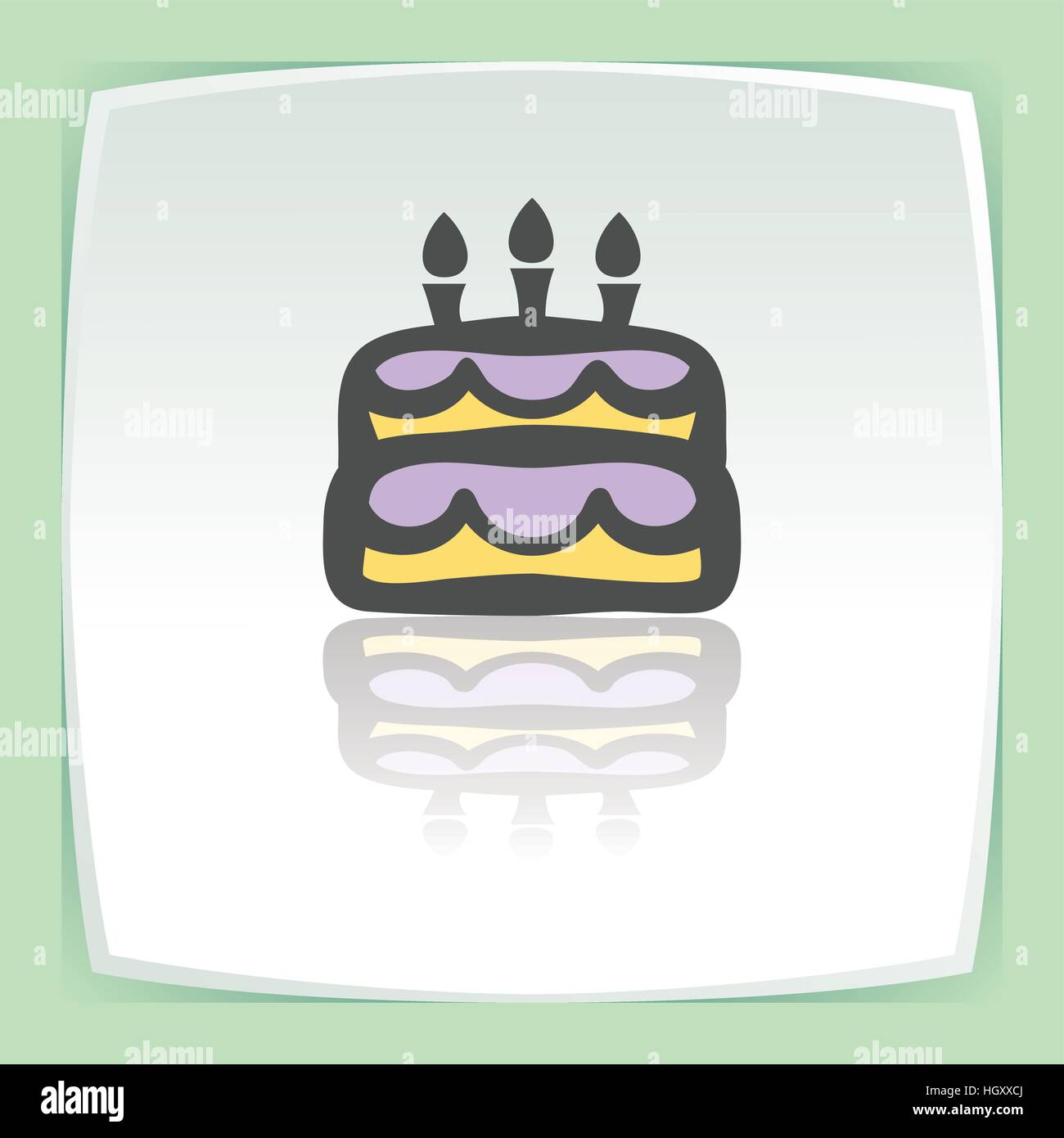 Vector Outline Birthday Cake With Candles Food Icon On White Flat