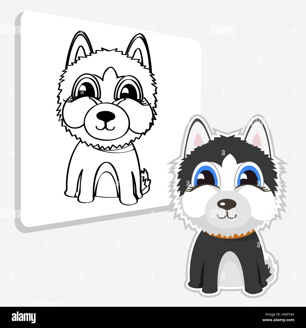 Funny cartoon Siberian husky. - Stock Vector