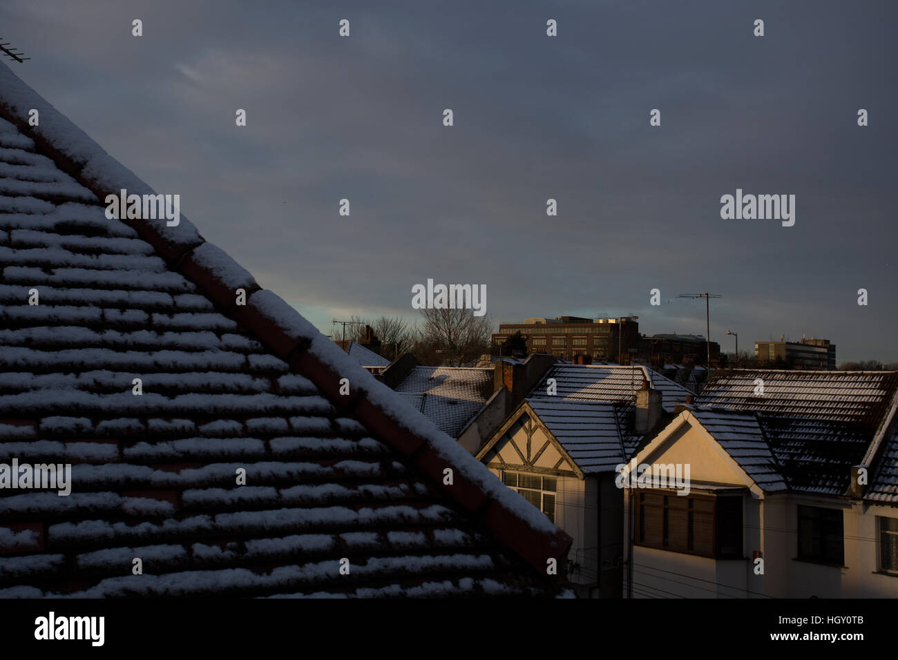 Snow on roof, Southend-on-sea, Essex Stock Photo