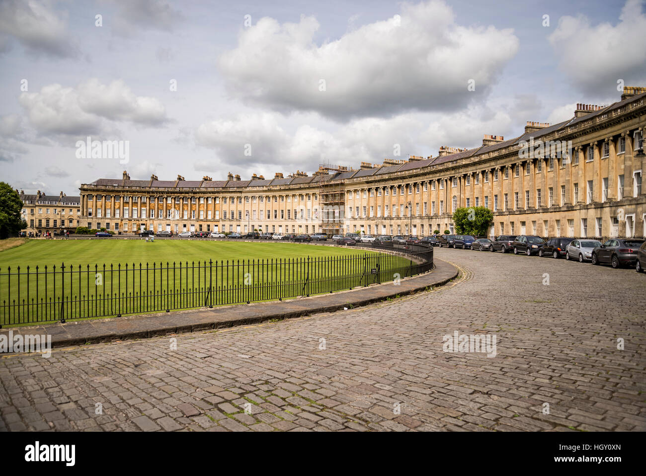 The Circus, famous circular Royal Crescent building in Bath - Stock Image