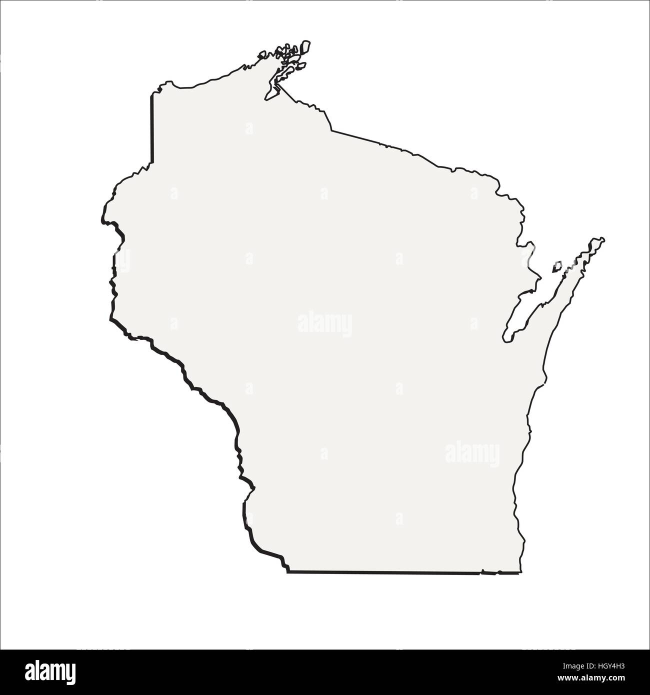 Vector Wisconsin State 3D Outline Map Stock Vector