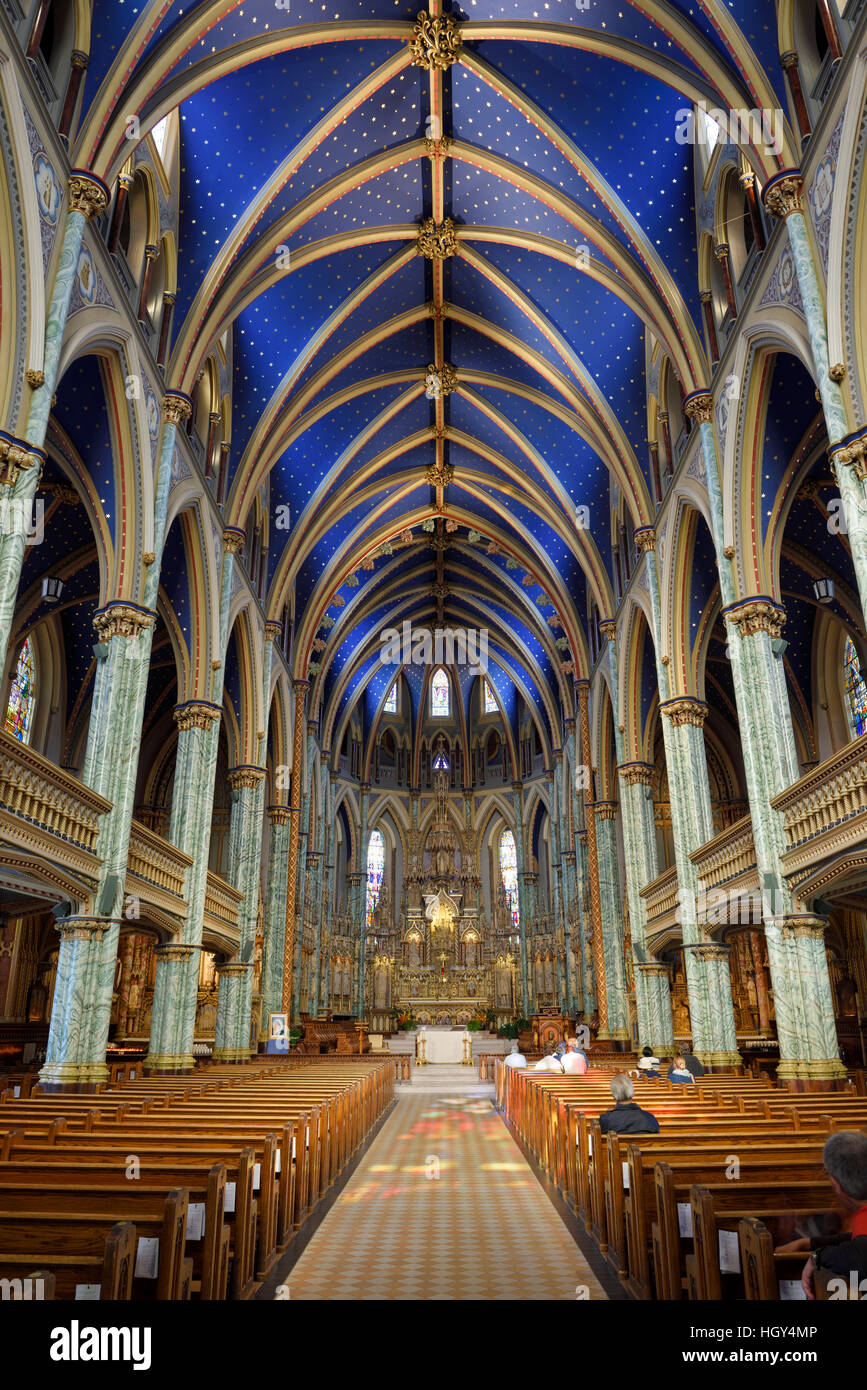 Interior nave of Notre Dame Roman Catholic Cathedral Basilica in Ottawa Canada - Stock Image