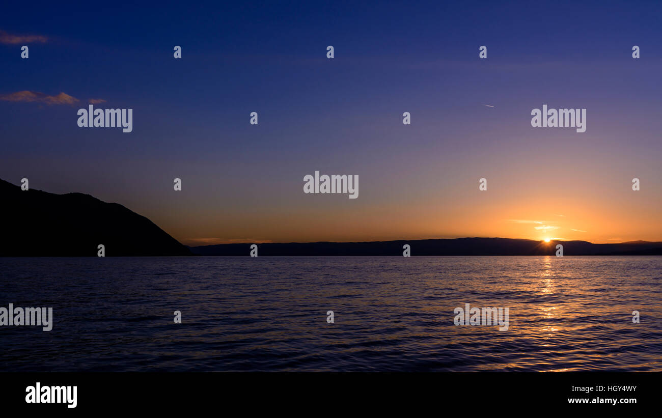 Sunset on Lake Geneva in Switzerland. - Stock Image
