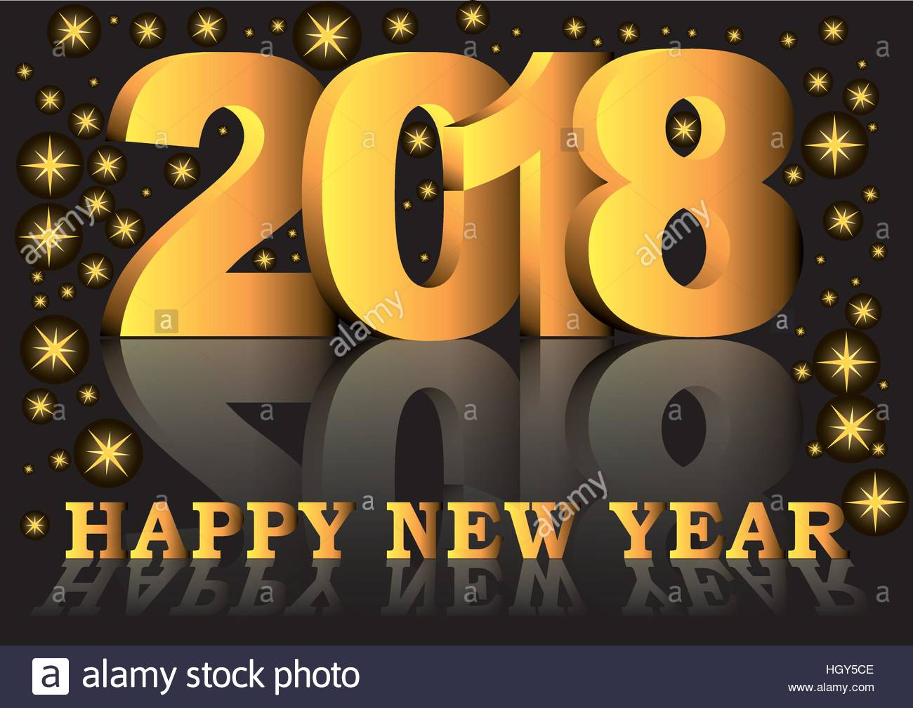 happy new year 2018 greeting card with golden numbers and letters