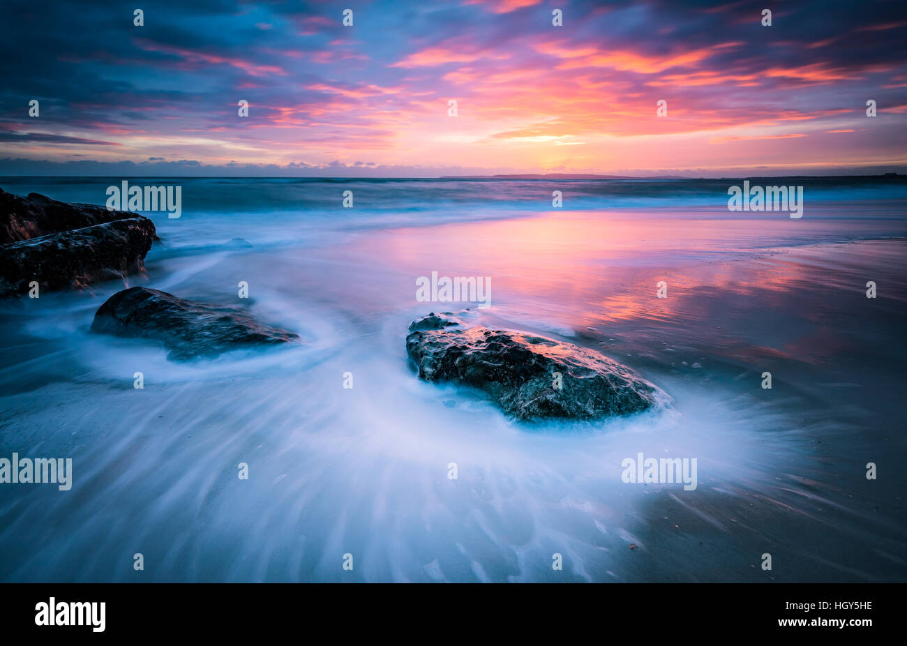 Long exposure sunset in Bournemouth Dorset - Stock Image