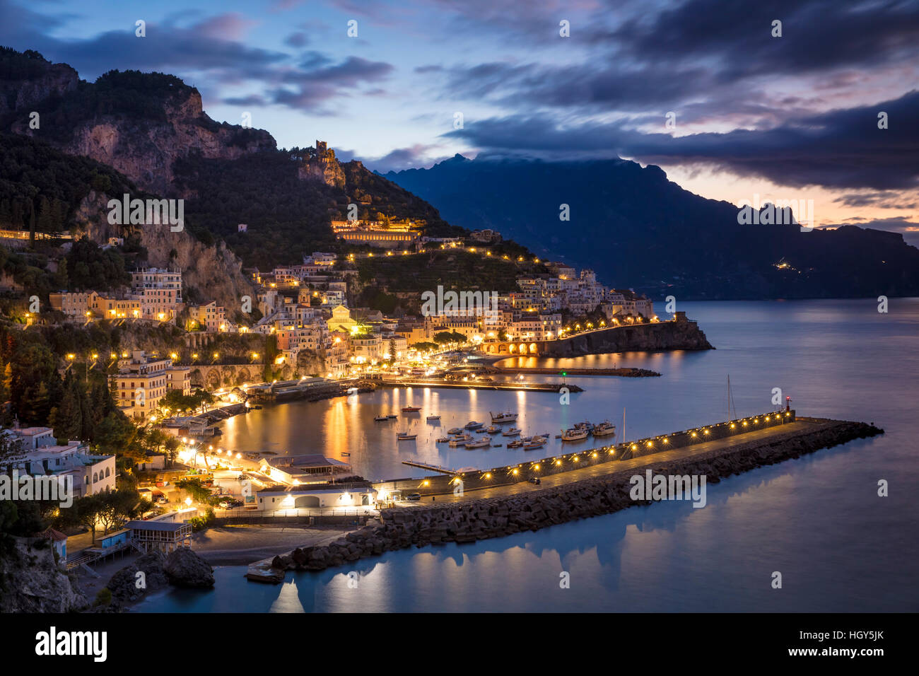 Early morning twilight view of Amalfi, Gulf of Salerno, Campania, Italy - Stock Image