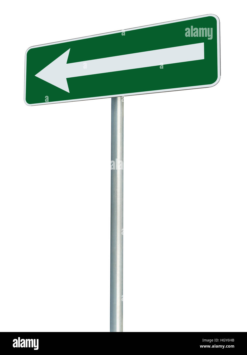 Left traffic route only direction sign turn pointer, green isolated roadside signage perspective, white arrow icon Stock Photo