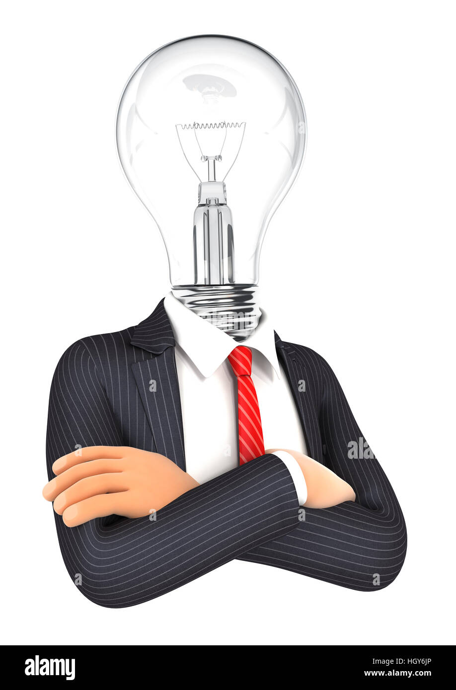 3d businessman with light bulb head, illustration with isolated white background Stock Photo