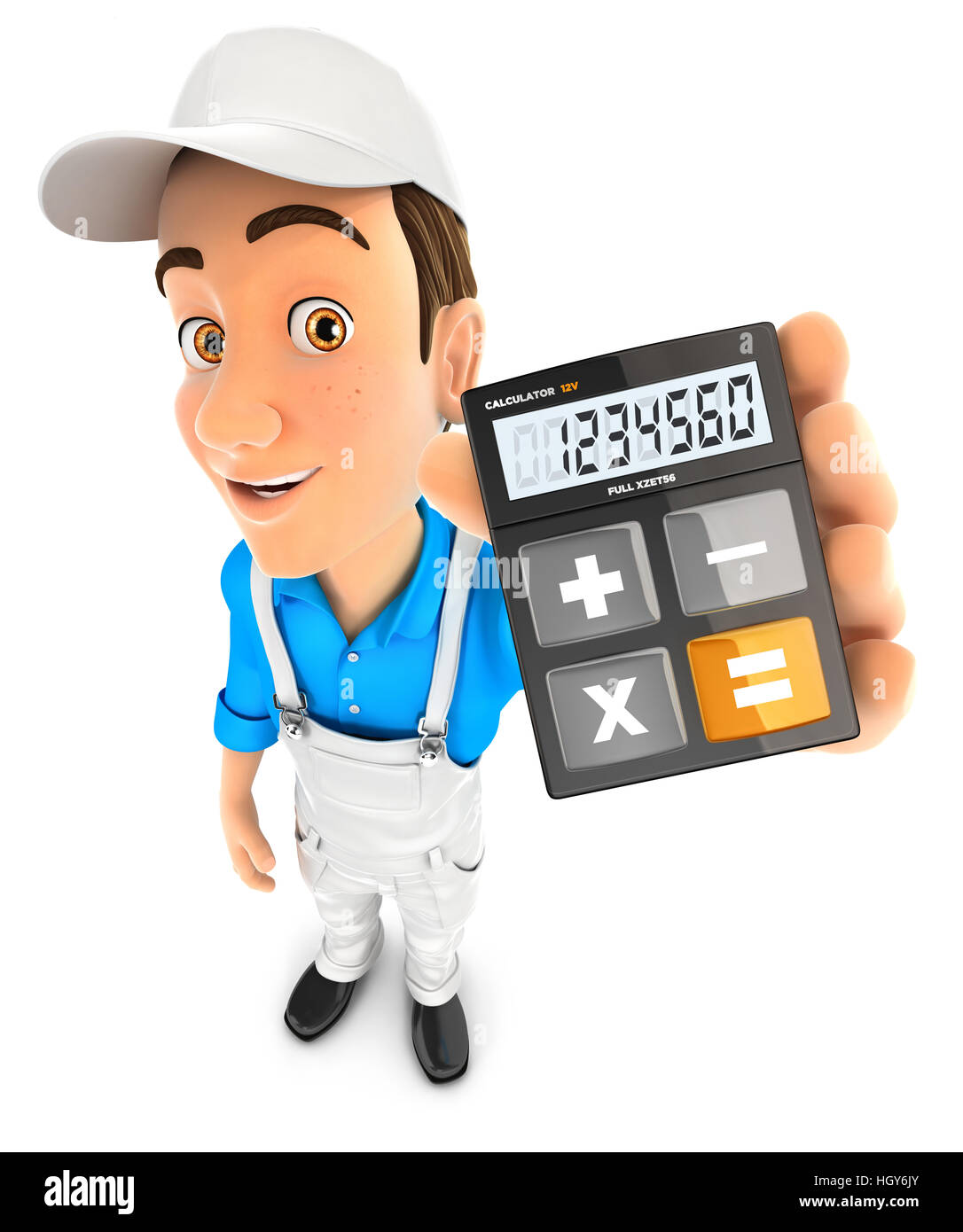 3d painter holding calculator, illustration with isolated white background Stock Photo