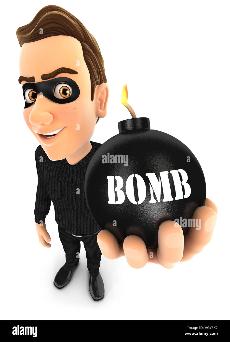 3d thief holding a bomb, illustration with isolated white background Stock Photo