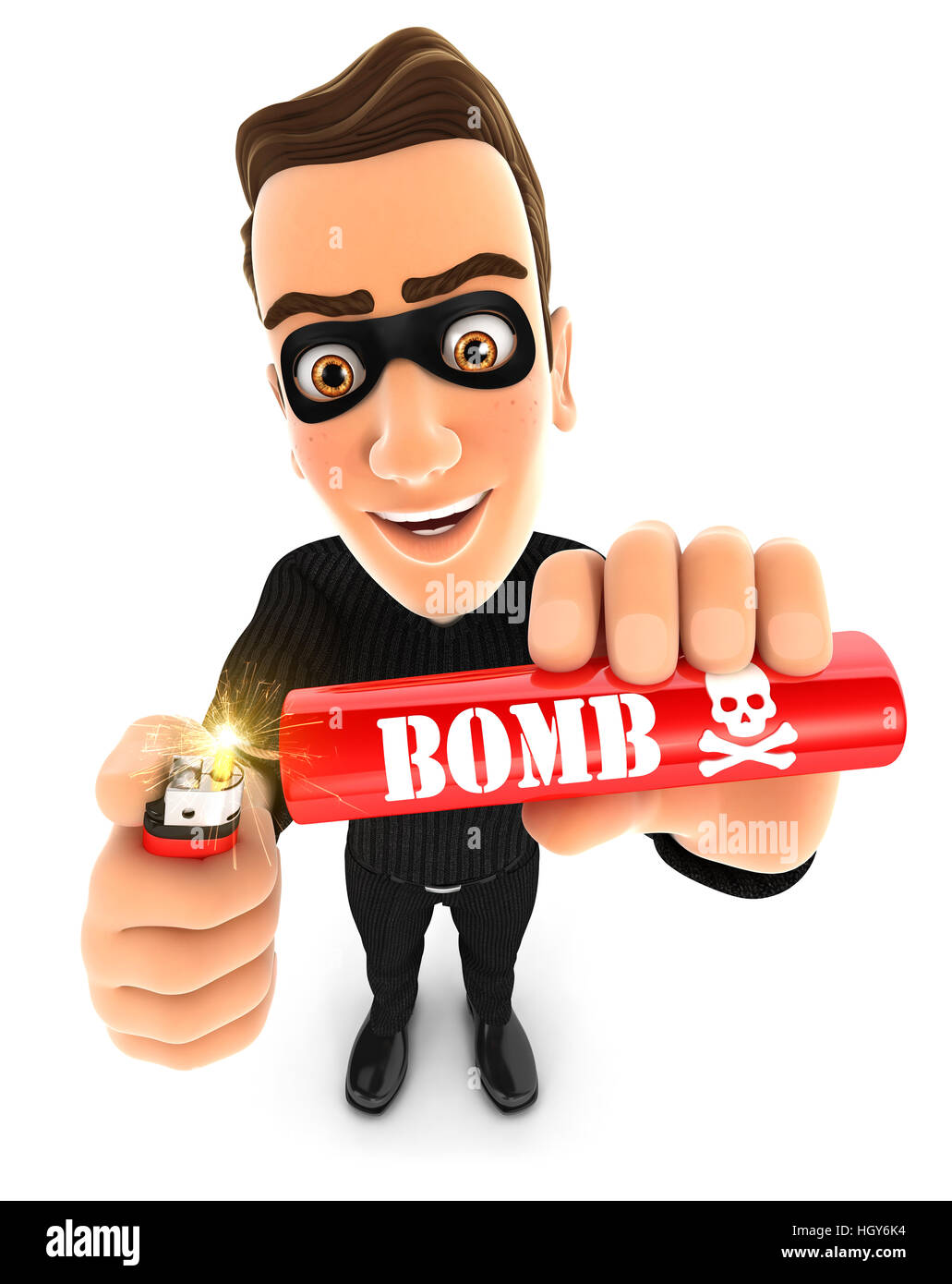 3d thief lighting a stick of dynamite, illustration with isolated white background Stock Photo