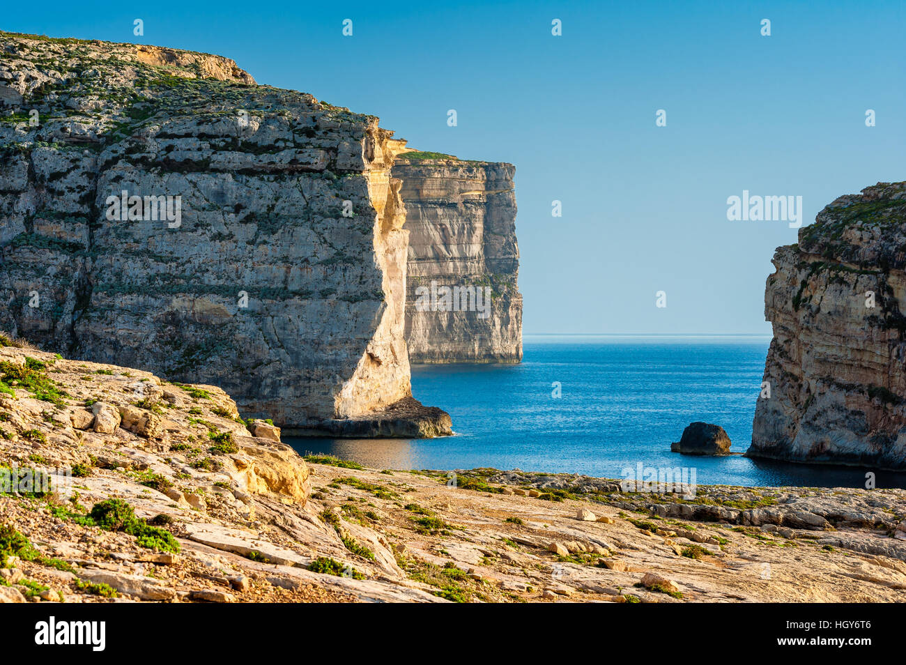 Cliffs on West Coast of Gozo Malta - Stock Image