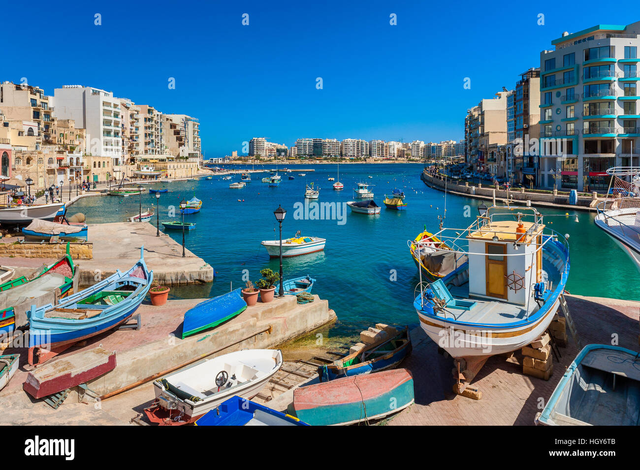 St. Julian's Bay Malta - Stock Image