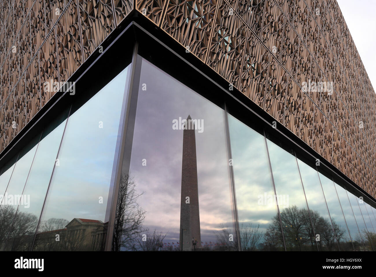 Washington Monument and National Museum of African American History and Culture Washington DC - Stock Image