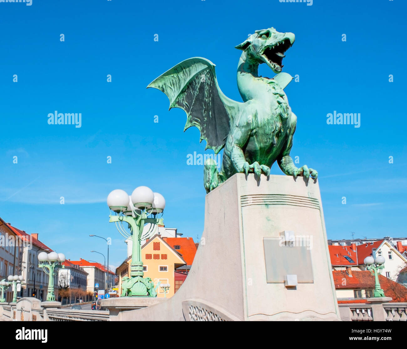 This is one of the four dragon statues in the bridge. According to local legends, when a virgin crosses the bridge, - Stock Image