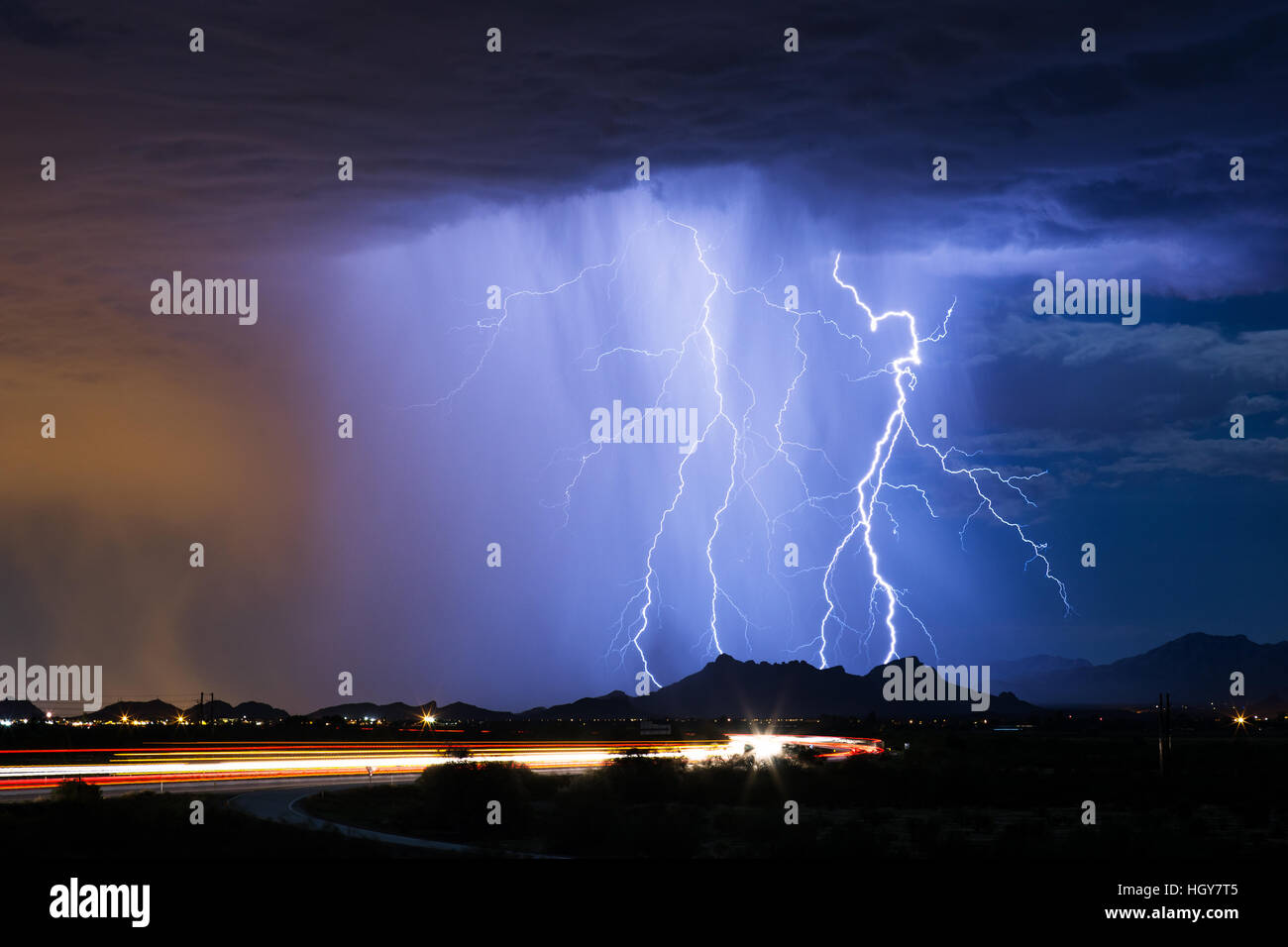 Lightning storm in Tucson, Arizona Stock Photo