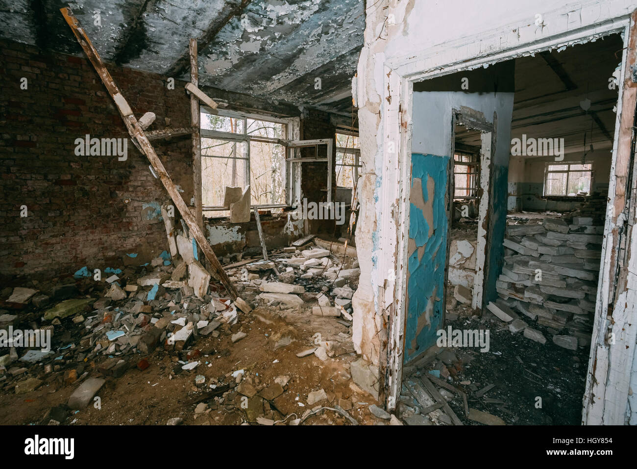 Abandoned Building Interior In Chernobyl Zone. Chornobyl Disasters - Stock Image