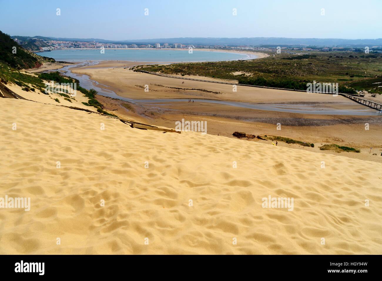 Salir do Porto sand dunes and beach by the river Tornada where it flows into the S�o Martinho bay Silver Coast Portugal - Stock Image