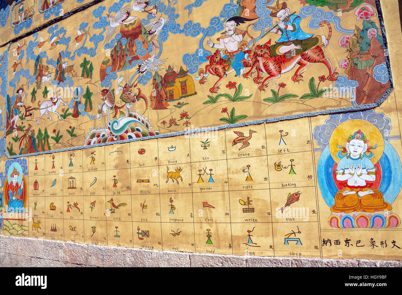 Naxi Dongba paintings in Lijiang, China. Only a few dozen elderly people can read these characters at the moment. - Stock Image