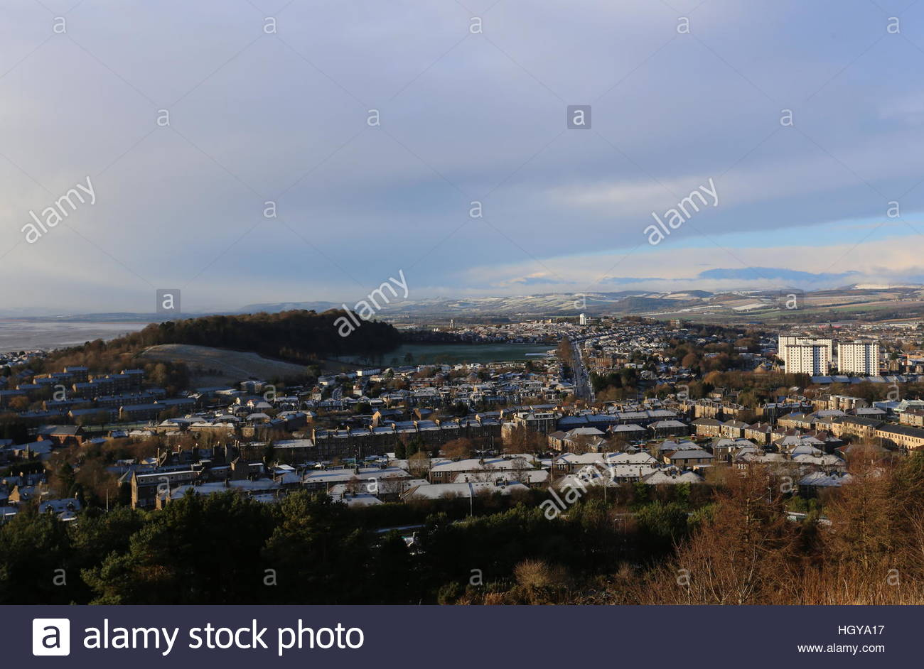 Elevated view of Dundee after light snow Scotland 12th January 2017 - Stock Image