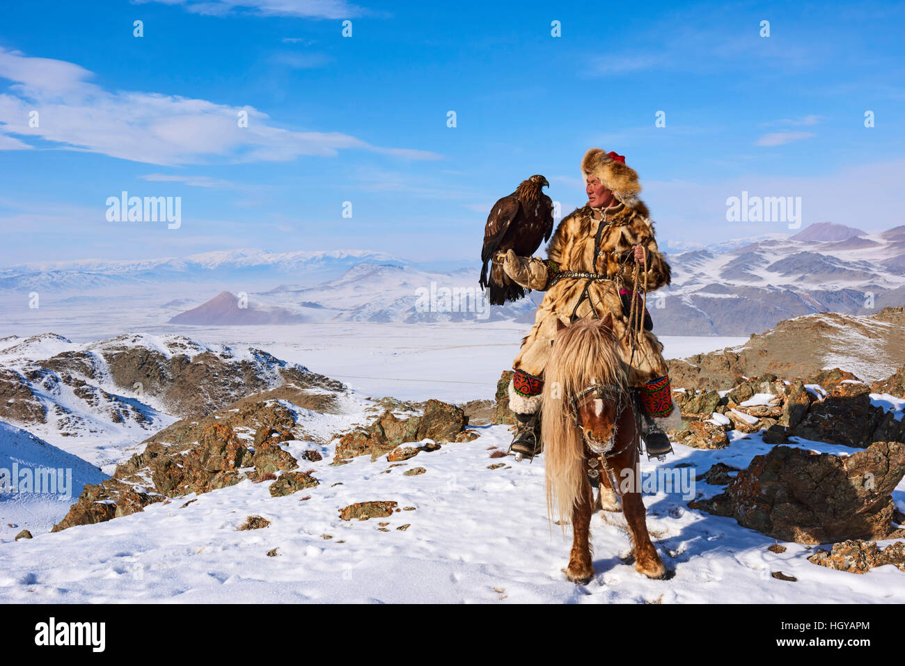 Mongolia, Bayan Olgii, kazakh eagle hunter, Eagle hunting, golden eagle Stock Photo
