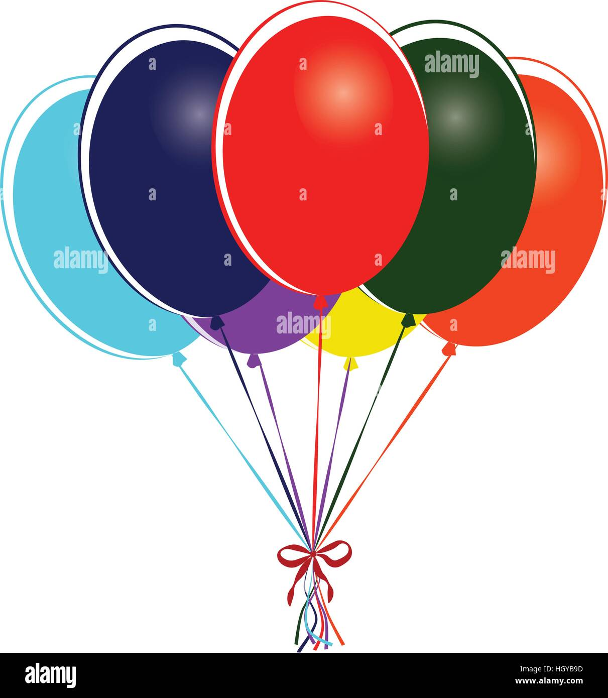 Group of multi colored balloons - vector illustration - Stock Vector
