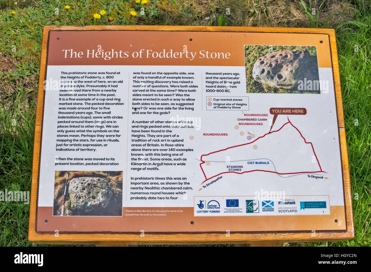THE HEIGHTS OF FODDERTY STONE NOTICE BOARD LOCATED AT THE GUNN MEMORIAL STRATHPEFFER Stock Photo