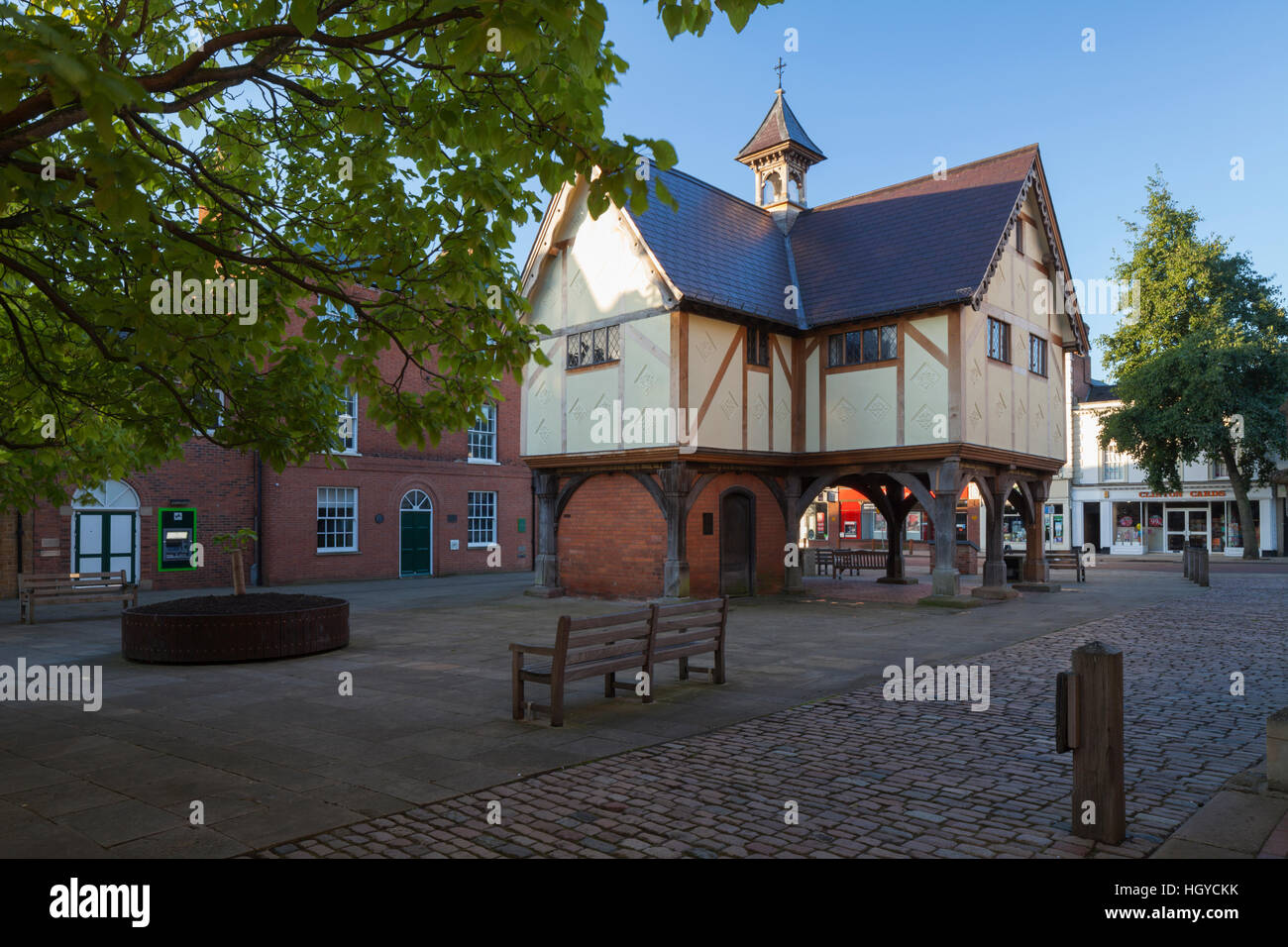 The recently restored Old Grammar School in Church Square dates from 1614, Market Harborough, Leicestershire, England - Stock Image