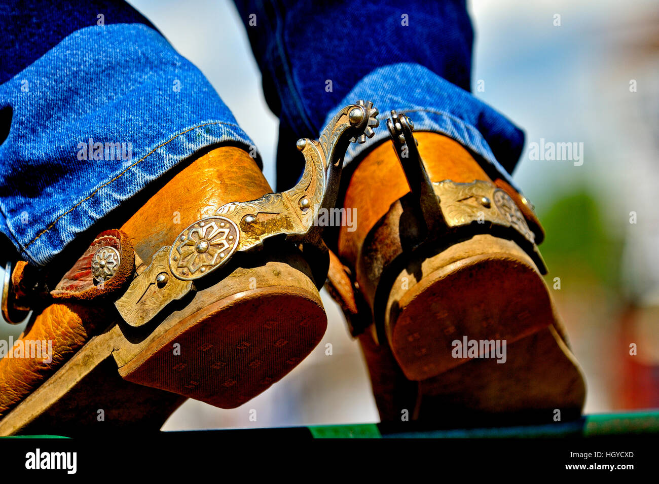 Cowboy's boots with spurs attached. - Stock Image
