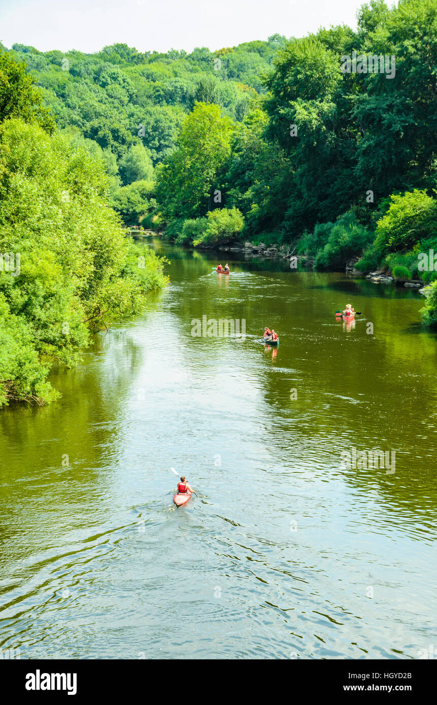 Canoeists and kayakers on the River Severn below Severn Valley Country Park Shropshire England - Stock Image
