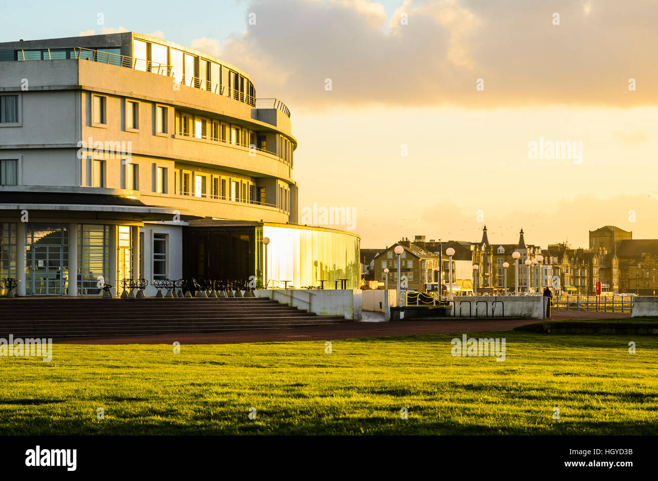 The Midland Hotel in Morecambe Lancashire England an Art Deco masterpiece first opened in 1933 and restored in 2008 - Stock Image