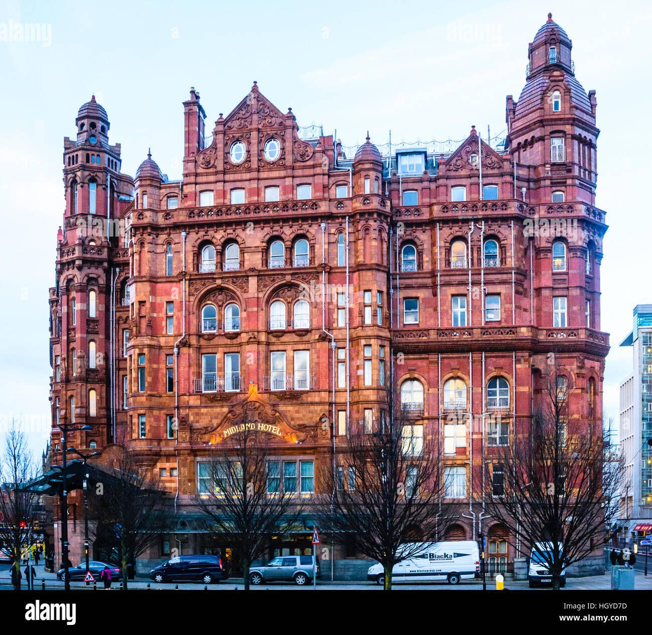 Southwest frontage of the Midland Hotel Manchester, which faces the former Manchester Central station of the Midland - Stock Image