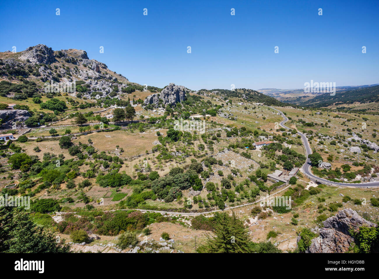 Spain, Andalusia, Province of Cadiz, landscape near the village of Grazalema in the foothills of the Sierra del - Stock Image