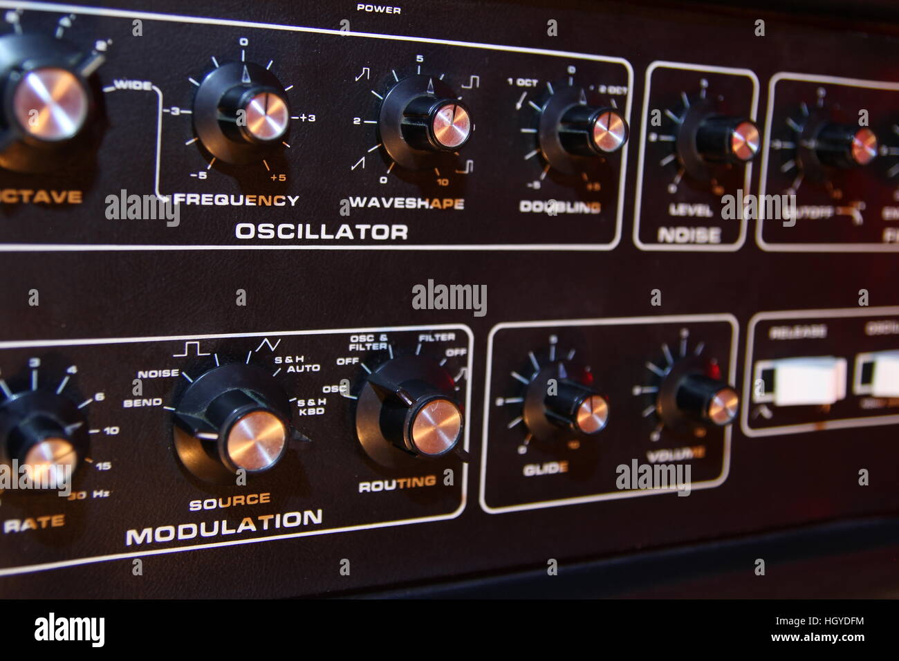 Control panel of a retro vintage electronic music synth - Stock Image