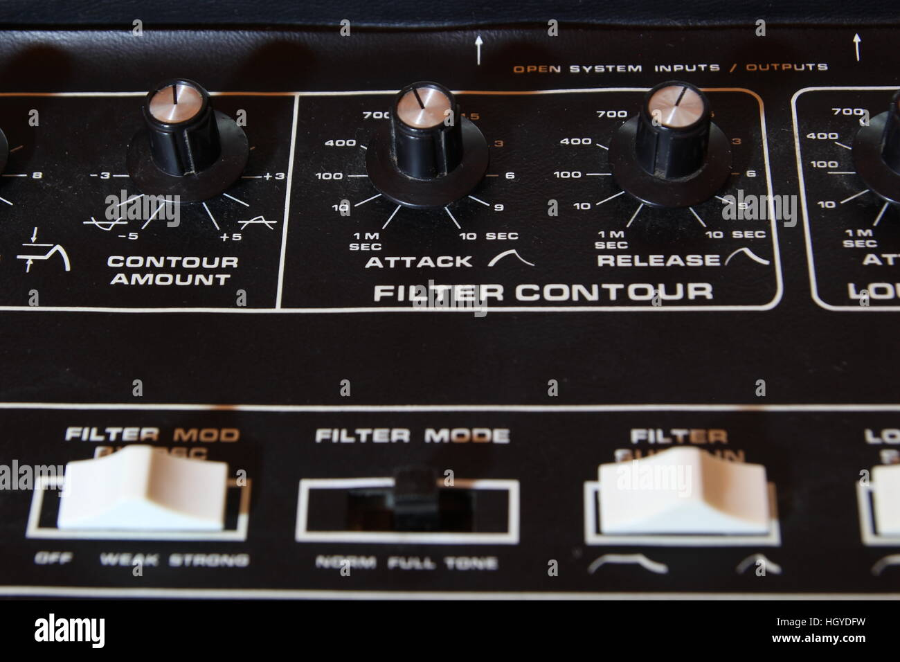 Vintage analogue music synthesizer control panel closeup in shallow focus - Stock Image