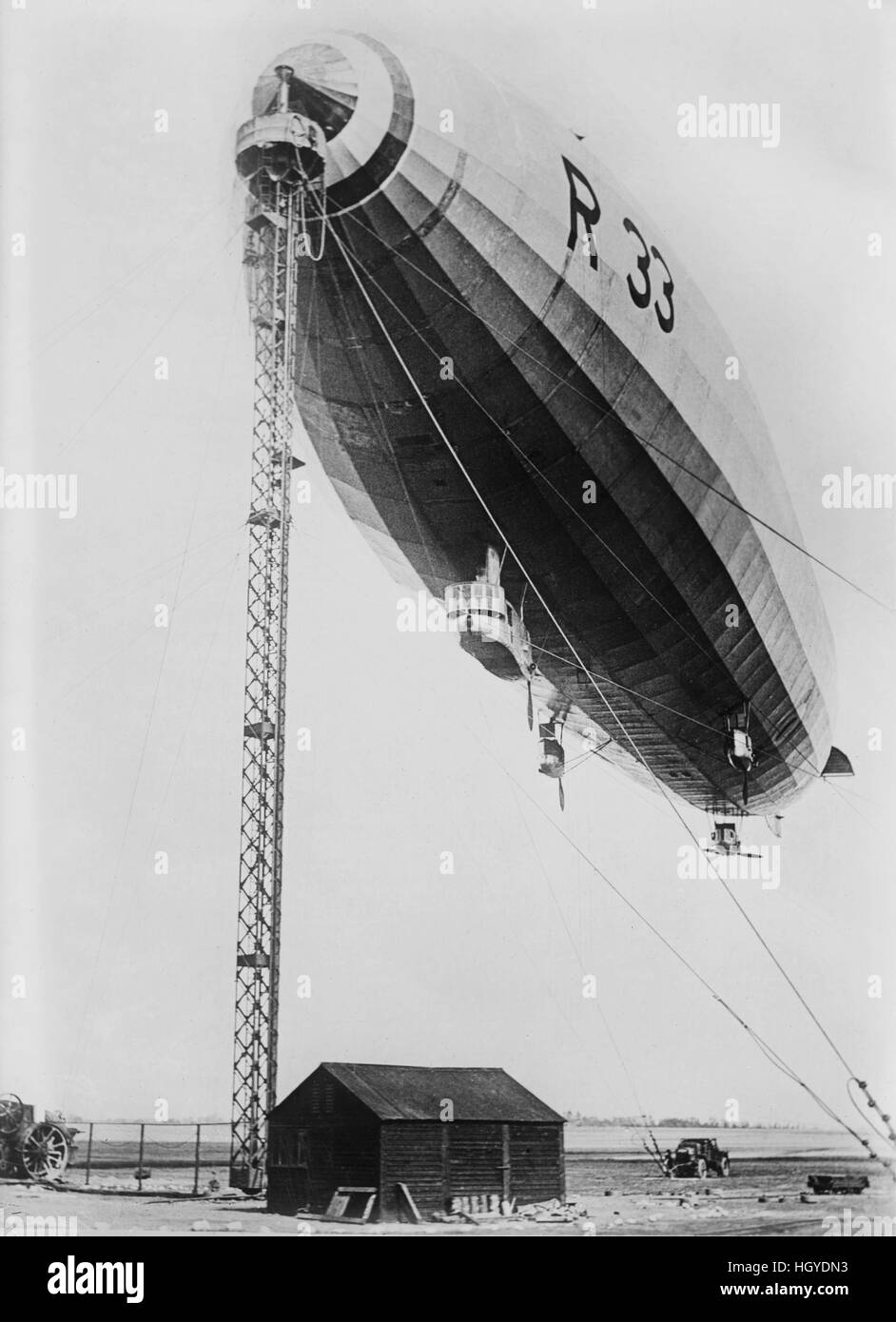 R 33 Airship at Mooring Mast, Bain News Service, 1921 Stock Photo