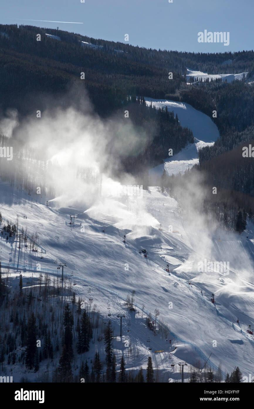 Vail, Colorado - Snowmaking at Vail Ski Resort - Stock Image