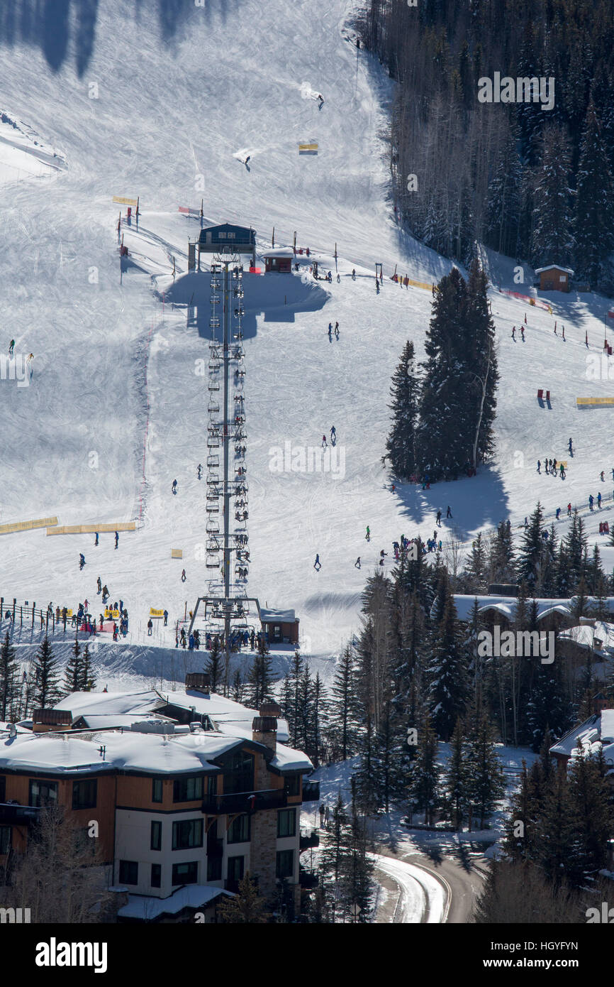 Vail, Colorado - The Gopher Hill lift at Vail Ski Resort - Stock Image