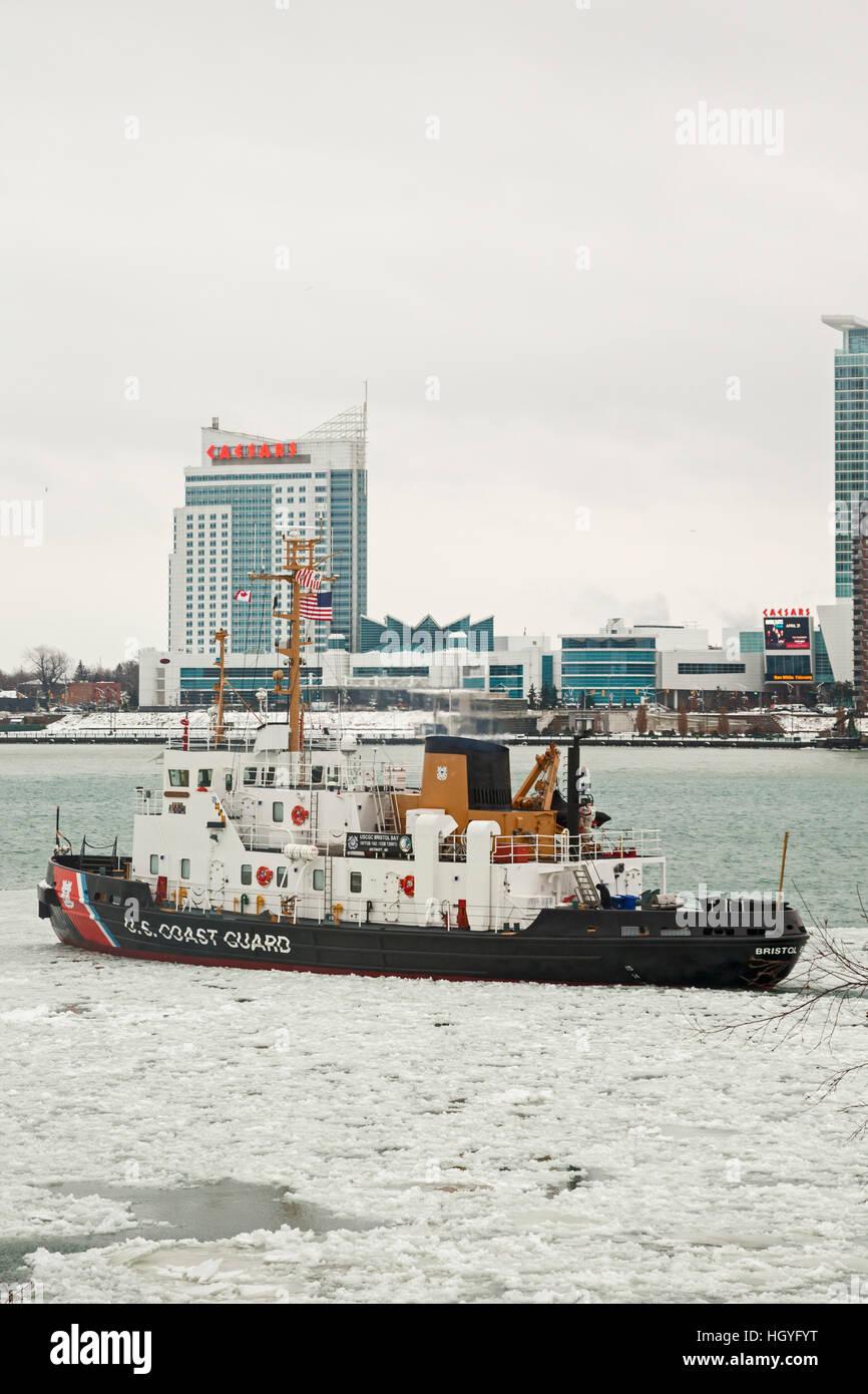 Detroit, Michigan - The U.S. Coast Guard cutter Bristol Bay patrols the Detroit River between Detroit and Windsor, - Stock Image