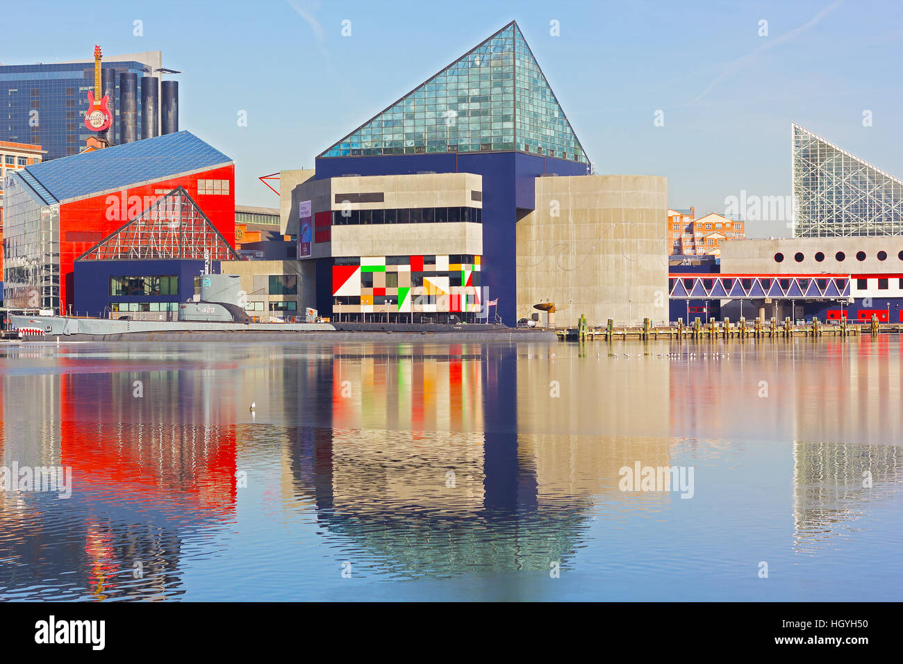 National Aquarium and historic submarine Torsk at Inner Harbor in Baltimore, USA - Stock Image