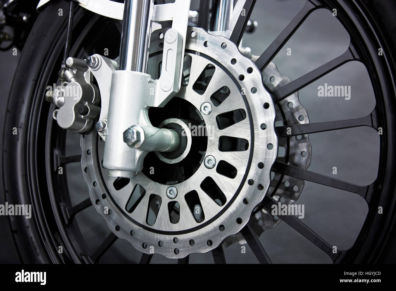 A Wheel Of A Motorcycle With Disk Brake Stock Photo Alamy