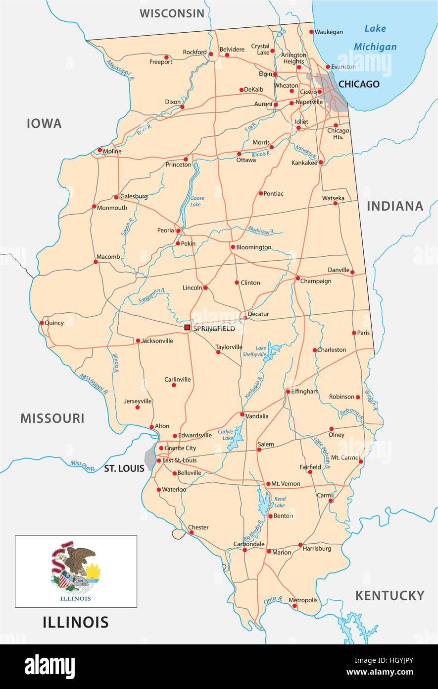 illinois road map with flag Stock Vector Art & Illustration ... on harrisburg illinois map, illinois map with all cities, illinois farm map, illinois zoning map, illinois railroad map, illinois minnesota map, illinois bayou map, central illinois map, illinois map coloring, illinois tourist map, illinois expressway map, illinois rd map, chicagoland map, illinois well map, rockford illinois map, illinois creek map, illinois wall map, illinois major highways, illinois airports map, illinois town map,