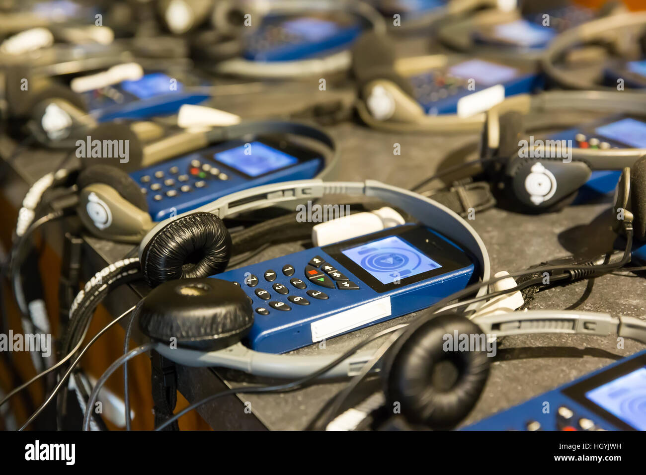 Audio guide with headphones. - Stock Image