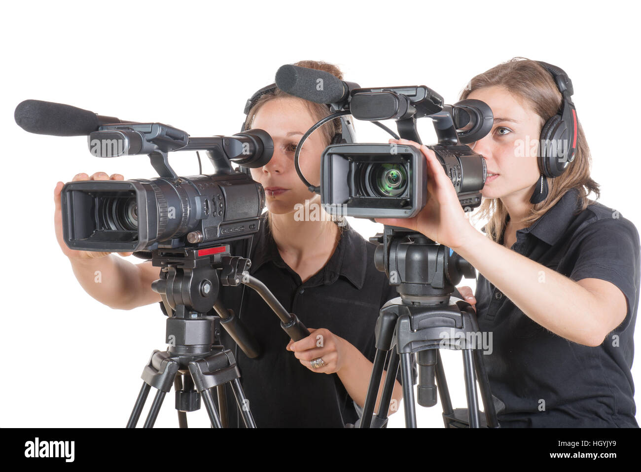 two young women with professional video cameras Stock Photo ... 13cf2f4a83