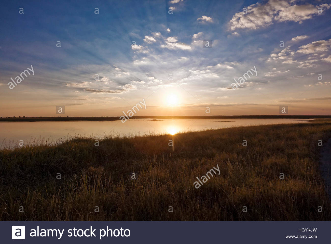 Sunset, Nata Bird Sanctuary, Botswana - Stock Image